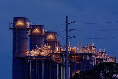 Poster featuring the photograph Gas Power Plant At Night by Bradford Martin