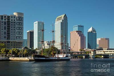 Gasparilla Pirate Ship And Tampa Skyline Poster