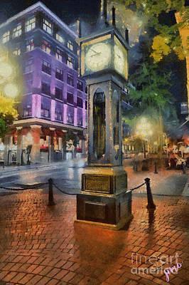 Poster featuring the digital art Gastown Sreamclock 1 by Jim  Hatch