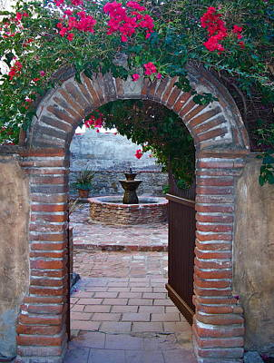 Gate To The Sacred Garden And Bell Wall Mission San Juan Capistrano California Poster by Karon Melillo DeVega
