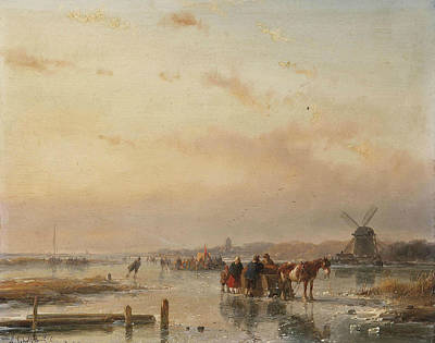 Gathered On The Ice At The End Of A Winter's Day Poster by Andreas Schelfhout