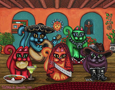 Gatos De Santa Fe Poster by Victoria De Almeida