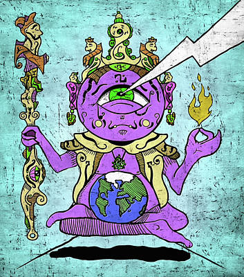 Gautama Buddha Colour Illustration Poster