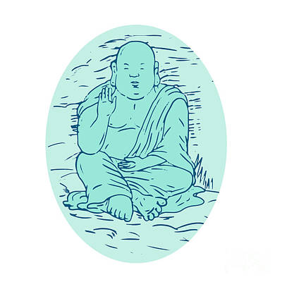 Gautama Buddha Lotus Pose Drawing Poster