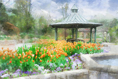 Poster featuring the digital art Gazebo With Tulips by Francesa Miller