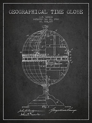 Geaographical Time Globe Patent From 1900 - Charcoal Poster by Aged Pixel