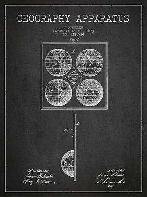Geaography Apparatus Patent From 1873 - Charcoal Poster by Aged Pixel