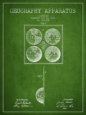 Geaography Apparatus Patent From 1873 - Green Poster by Aged Pixel