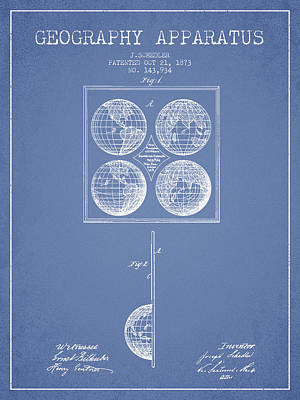 Geaography Apparatus Patent From 1873 - Light Blue Poster by Aged Pixel