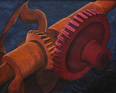 Poster featuring the painting Gears And Shaft by Paul Amaranto