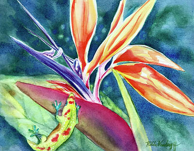 Gecko On Bird Of Paradise Poster