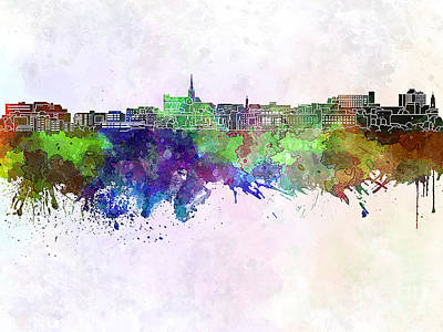 Geelong Skyline In Watercolor Background Poster by Pablo Romero