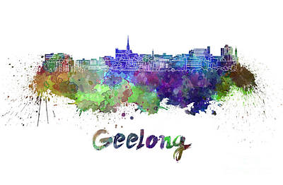 Geelong Skyline In Watercolor Poster by Pablo Romero