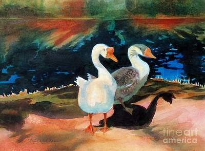 Geese At Riverside Poster by Kathy Braud
