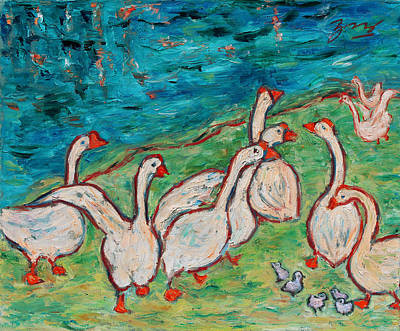 Poster featuring the painting Geese By The Pond by Xueling Zou