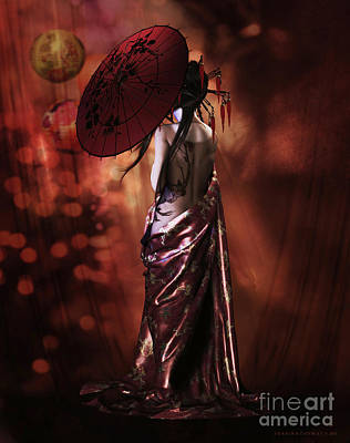 Poster featuring the digital art Geisha Gold by Shanina Conway