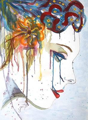Geisha Soul Watercolor Painting Poster