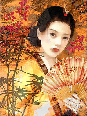 Geisha With Fan Poster by Mo T