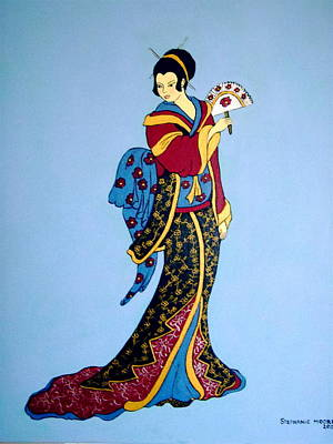 Poster featuring the painting Geisha With Fan by Stephanie Moore