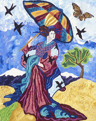 Geisha With Umbrella Poster by Lorin Zerah