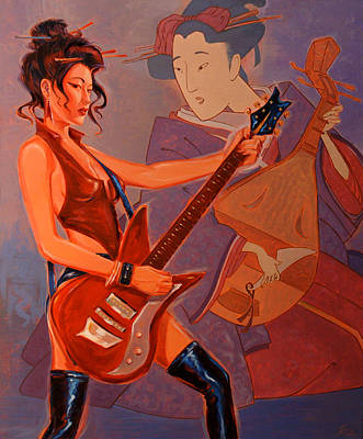 Geishas Gone Bad- Rock On Poster by Shawn Shea