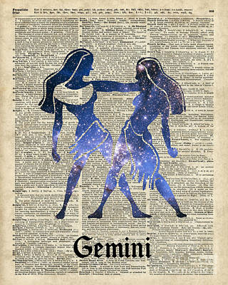 Gemini Twins Horoscope Zodiac Sign Poster by Jacob Kuch
