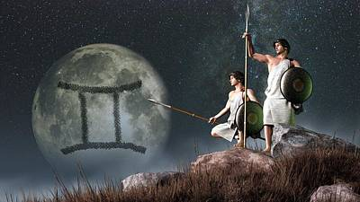 Gemini Zodiac Symbol Poster by Daniel Eskridge