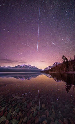 Poster featuring the photograph Geminid Meteor Storm // December 13th, 2017 // Lake Mcdonald, Glacier National Park by Nicholas Parker