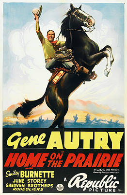 Gene Autry In Home On The Prairie 1939 Poster by Mountain Dreams