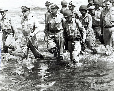 General Douglas Macarthur Wades Ashore At Leyte On His Return To The Philippines Poster