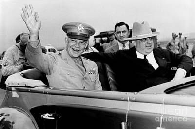 General Dwight Eisenhower With  Fiorello Laguardia In Car Upon His Arrival To New York City. 1945 Poster by Anthony Calvacca