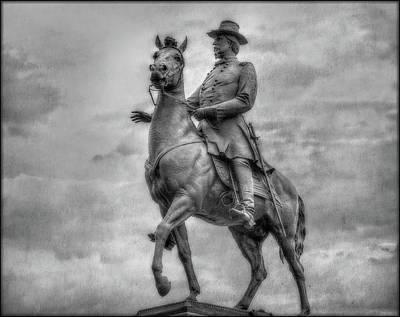 General Hancock Monument At Gettysburg Battlefield Poster by Randy Steele