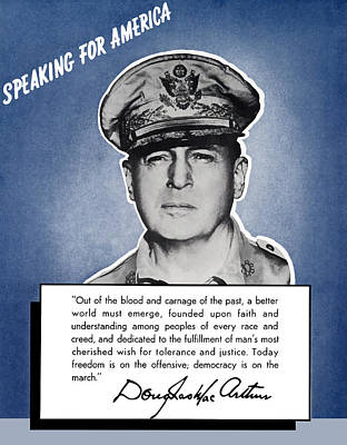 General Macarthur Speaking For America Poster by War Is Hell Store