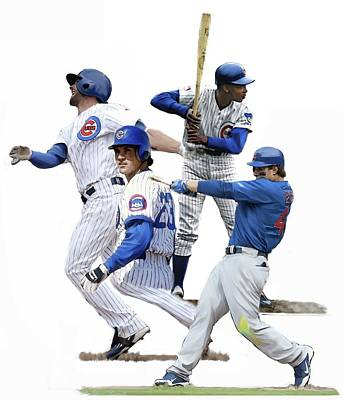 Poster featuring the painting Generations Cubs I  The Chicago Cubs by Iconic Images Art Gallery David Pucciarelli