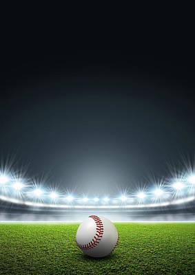 Generic Floodlit Stadium With Baseball Poster