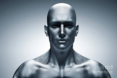 Generic Human Man Face, Front View. Futuristic Poster by Michal Bednarek