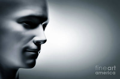 Generic Human Man Face, Profile Side. Futuristic Poster by Michal Bednarek