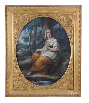 Genevieve With Distaff In A Landscape Pastel Poster