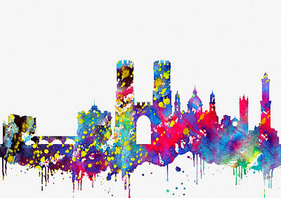 Genoa Skyline-colorful Poster