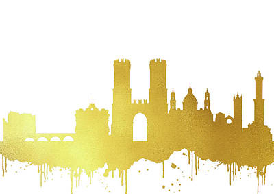 Genoa Skyline-gold II Poster