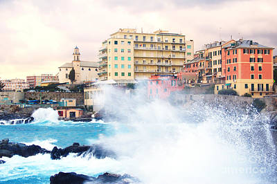 Genova Quinto With Rough Seas. Poster