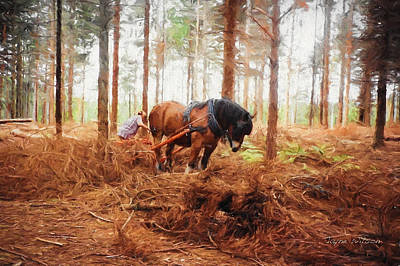Gentle Giant - Horse At Work In Forest Poster