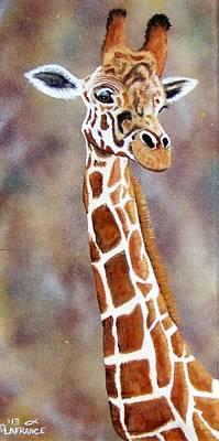 Gentle Giraffe Poster by Debbie LaFrance