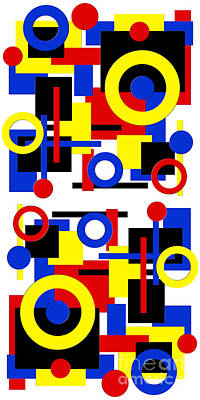 Poster featuring the digital art Geometric Shapes Abstract V 1 by Andee Design