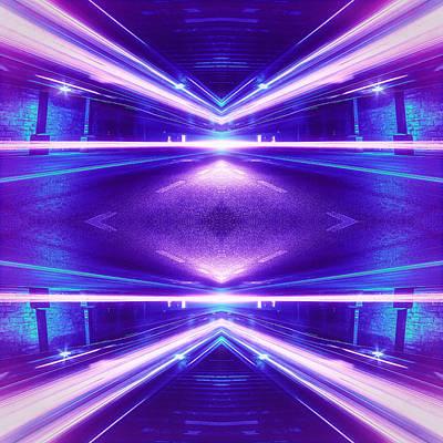 Geometric Street Night Light Pink Purple Neon Edition  Poster