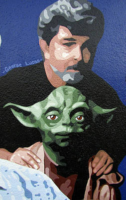 George Lucas With Yoda Poster by Roberto Valdes Sanchez