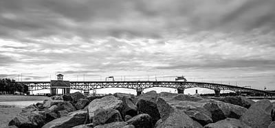 George P. Coleman Memorial Bridge In Black And White Poster by Deborah Schultz