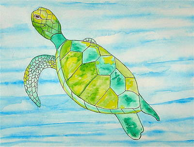Poster featuring the painting George The Hawaiian Sea Turtle by Erika Swartzkopf