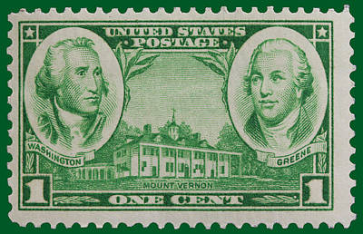 George Washington And Nathanael Greene Postage Stamp Poster by James Hill