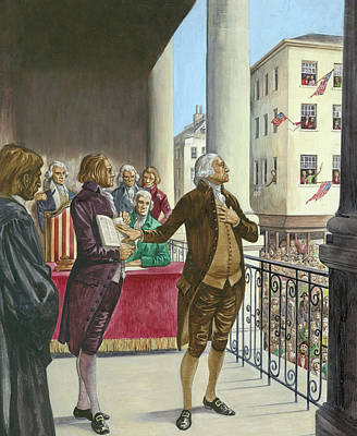 George Washington Being Sworn In As The First President Of America In New York Poster